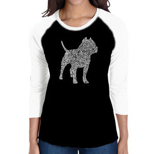 Women's Raglan Baseball Word Art T-shirt - Pitbull